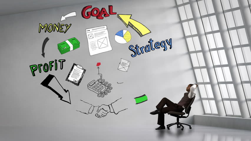 Businessman Sitting Next To Animated Business Plan Cycle In Bright Room
