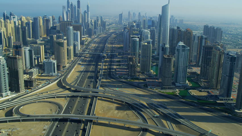 Aerial view Sheikh Zayed Road, Jumeirah Lakes Interchange Dubai city, UAE, RED EPIC, 4K, UHD, Ultra HD resolution