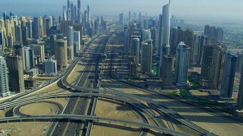 Aerial view Sheikh Zayed Road, Jumeirah Lakes Interchange Dubai city, UAE, RED EPIC, 4K, UHD, Ultra HD resolution