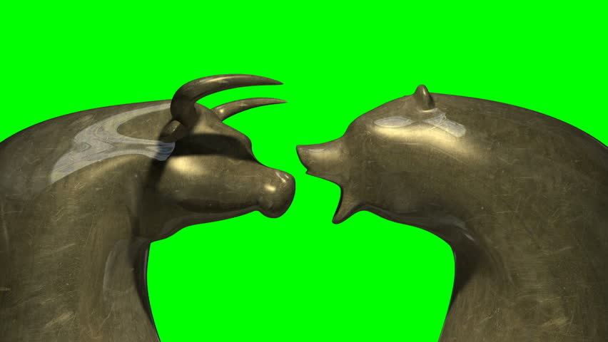 A closeup pan of two bronze castings depicting a stylized bull and a bear head in contrasting light representing a financial market trends on a green screen background | Shutterstock HD Video #5297051