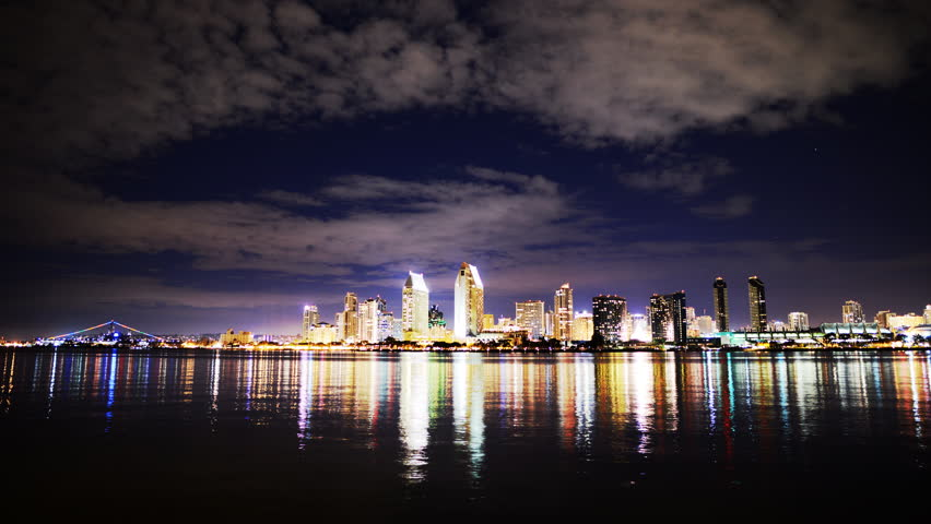 4K Time Lapse of San Diego Skyline at Night -Zoom in-