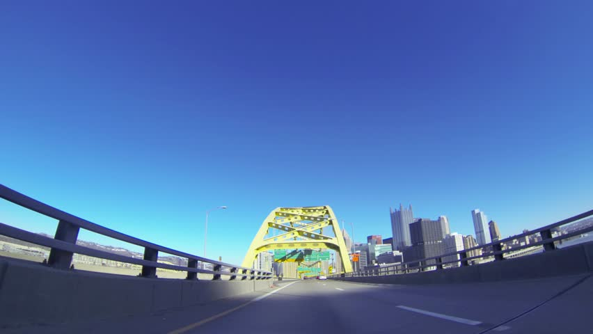 A view of Pittsburgh as you emerge from the Fort Pitt Tunnels.