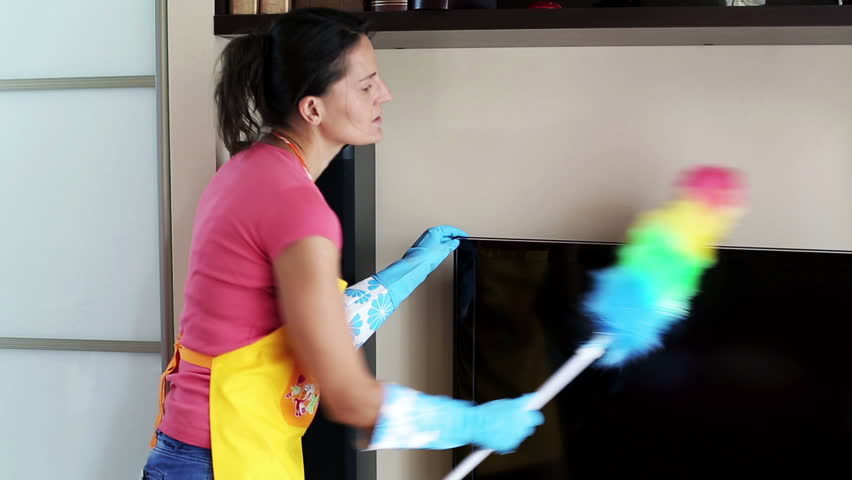 Dusting Furniture Housekeeper Woman Dusting The Tv And Stock Footage Video 100 Royaltyfree 5335910 Shutterstock Shutterstock Woman Dusting The Tv And Stock Footage Video 100 Royaltyfree