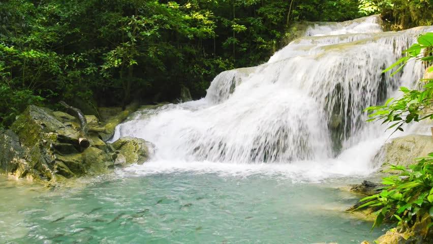 Hd0013Waterfall Beautiful Erawan Waterfall In Kanchanaburi Province Asia Southeast Thailand
