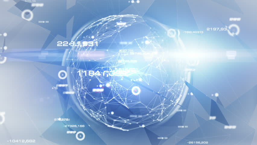 """Hi-tech Sphere. Light Blue."" Abstract data-sphere in digital space."