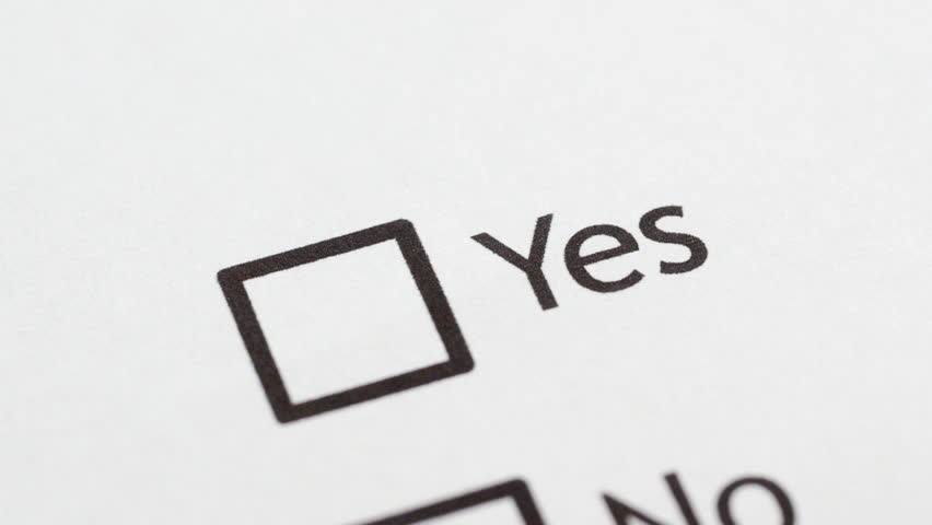 Yes No vote, tick boxes