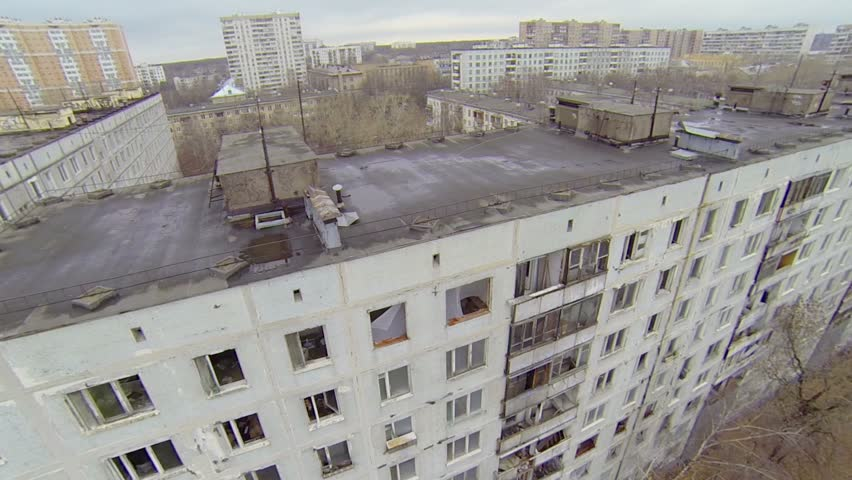 Block of abandoned dwelling houses in Moscow at autumn day