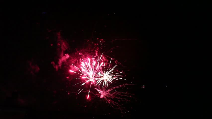 Video clip of colorful fireworks on the night sky.