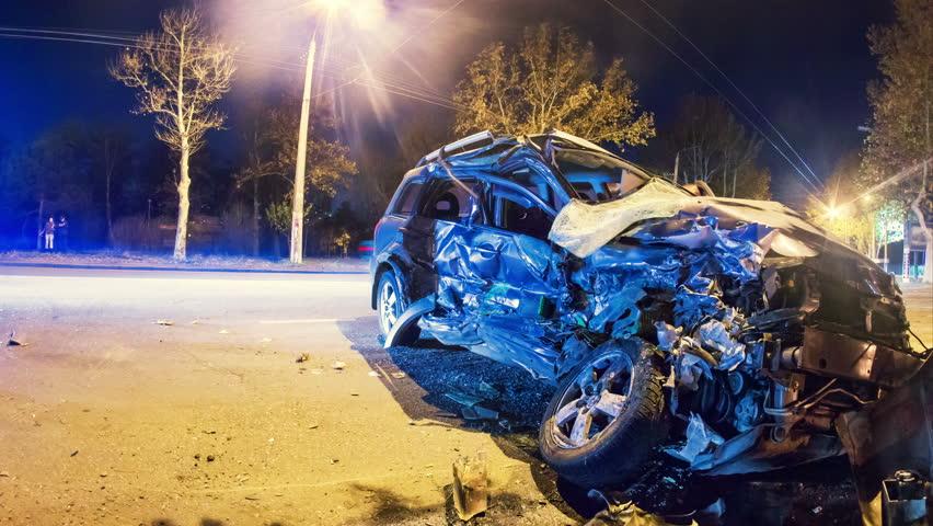 4K. Road accident. Crashed car on the road timelapse.