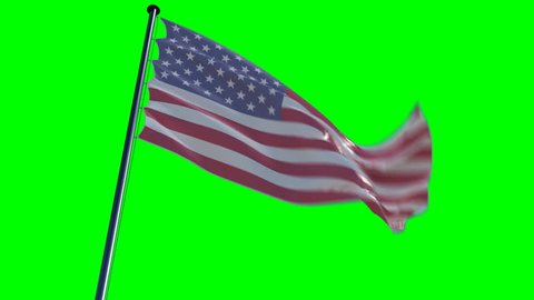 USA Flag with greenscreen and alpha. ready to use animation of the american flag animated on a green screen background with alpha channel.   See my other flags of different countries ,