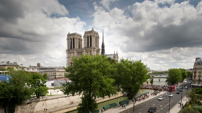 4k notre dame cathedral and surrounding streets, shot on a summer day from a unique vantage point. super high quality, 4k resolution (4096x2304). | Shutterstock HD Video #5420330