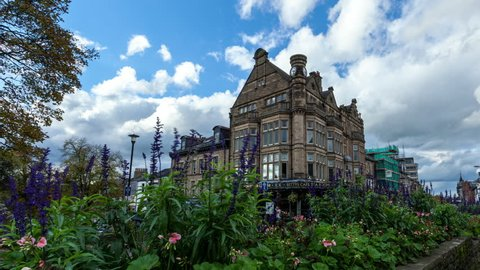 Harrogate, United Kingdom - October 26, 2013: Heavy clouds pass over the famous Betty's Tea Rooms building in the center of Harrogate, Yorkshire. 4K version