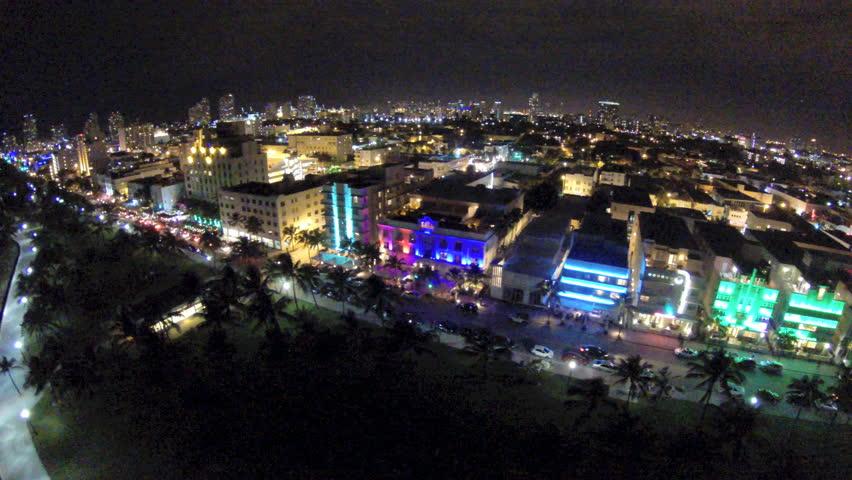 Aerial Footage Of Ocean Drive Miami Beach At Night Circa 2014 Stock Video 5434700