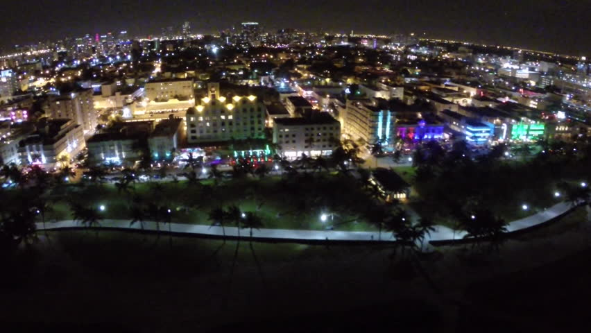 Aerial Footage Of Ocean Drive In Miami Beach Florida At Night Stock Video 5435990
