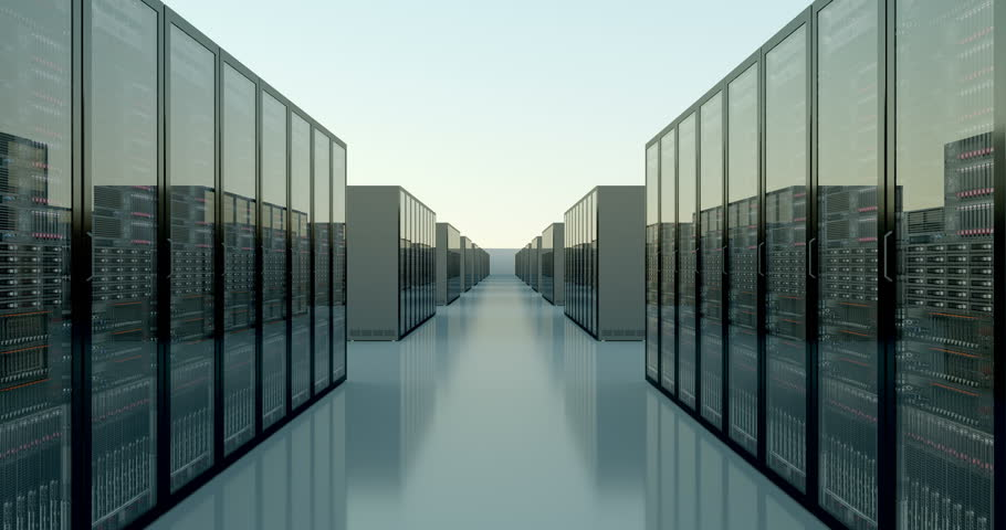 Camera movies among and above racks of servers to reveal cloud shaped datacenter. 4K native format.