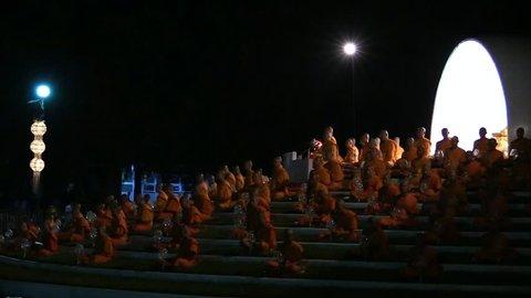 CHIANG MAI - NOVEMBER 16: Lanna Kathina Monks Meditation, Yee Peng Festival of lights and lanterns at Mae Jo, Chiang Mai, Thailand, Nov.16, 2013. Meditation takes about 1hr. before lanterns release.