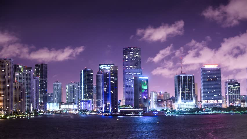 Miami, Florida, USA motion time lapse from the water.