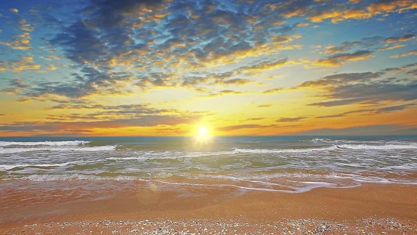 marine sunset. 4K. FULL HD, 4096x2304.