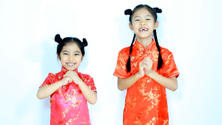 8a72b64dc33d0 hd00:08Happy little Asian Chinese children in traditional dress