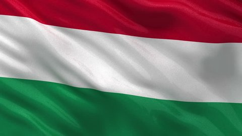 Flag of Hungary gently waving in the wind. Seamless loop with high quality fabric material.