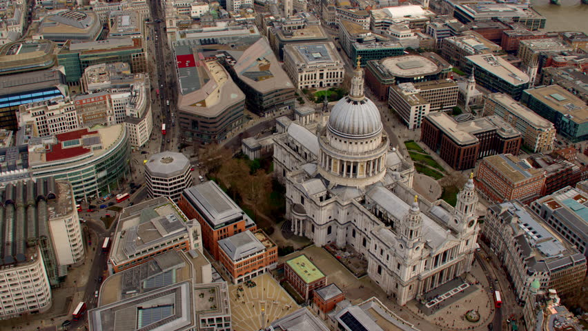 4K Aerial shot of Central London with view of the River Thames, St Paul's Cathedral