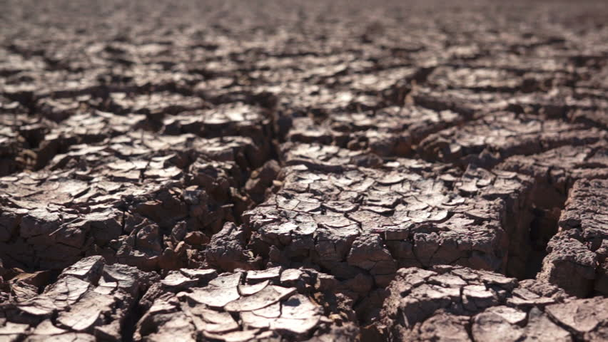 Close up dolly shot of dried and cracked earth that looks dead and barren of all vegetation.