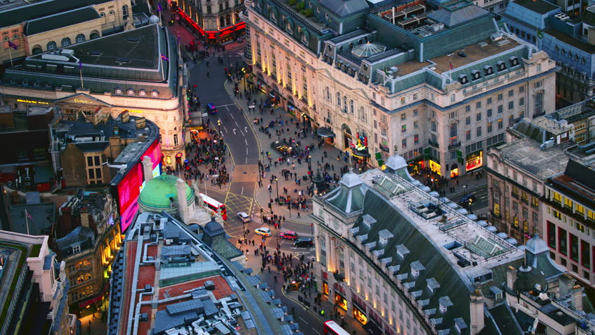 4K Aerial shot of Central London with view of Piccadilly Circus