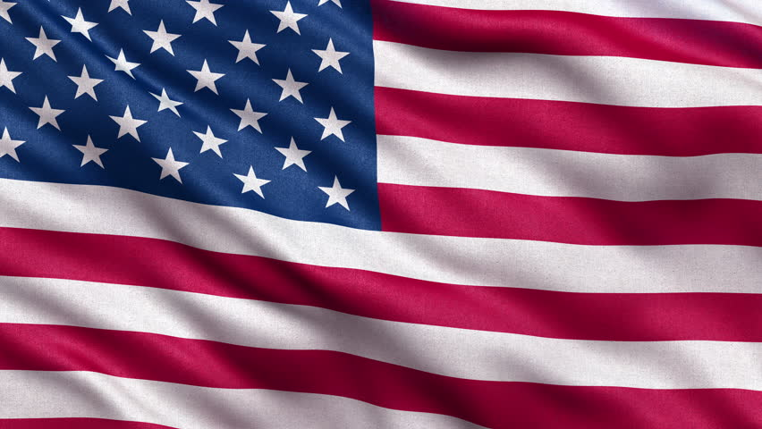 Realistic Ultra-HD flag of the USA waving in the wind. Seamless loop with highly detailed fabric texture. Loop ready in 4k resolution.