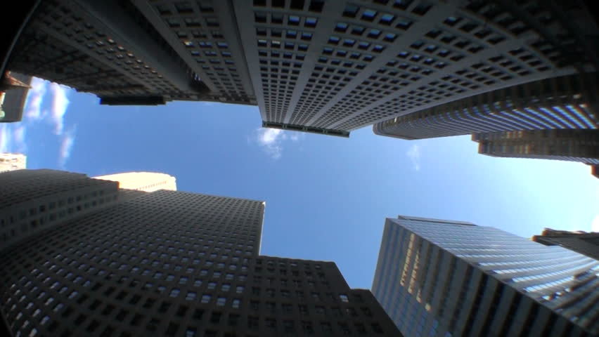 High-angle motion-jib view of skyscrapers in the financial district of New York City, USA