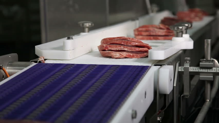 raw meat on the production line,food plant