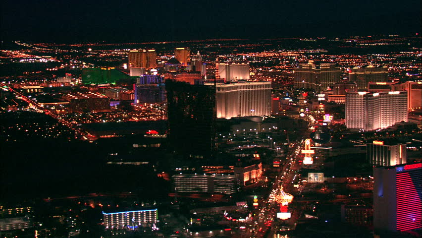 LAS VEGAS, USA - 1 January 2011 - Hotel Strip Night Las Vegas. Aerial footage of the Las Vegas strip at night. Beautiful hotel and skyscrapers light up the city skyline. | Shutterstock HD Video #5575439