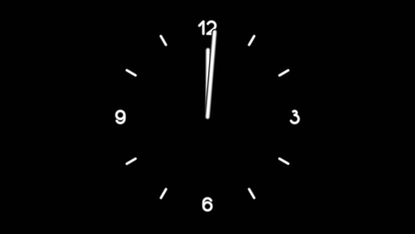 Motion background with spinning clock in 12 hour seamless loop. (Full 4K UHD, 4096x2304 30sec/30fps).