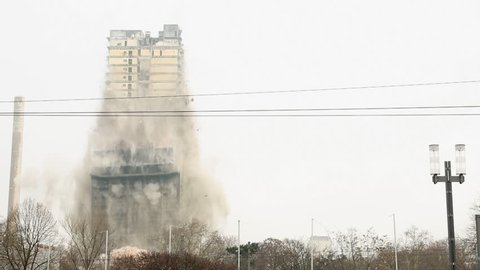 FRANKFURT - FEBRUARY 2: The Implosion of the AfE skyscraper on February 2, 2014 in Frankfurt. The AfE tower was the highest building ever brought to fall through detonation in Europe.
