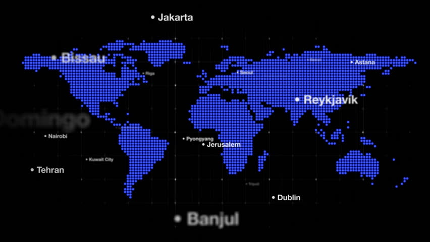 World Map with Capital Cities Stock Footage Video (100% Royalty