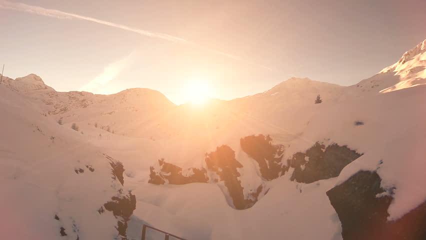 winter snow landscape. sunset dusk. majestic snow mountains. tourism resort nature #5593952