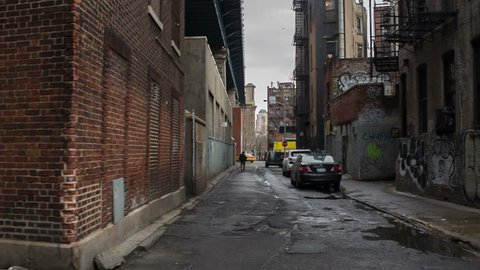 NEW YORK - FEBRUARY 2: desolate alley in Chinatown on February 2, 2014 in New York. Chinatown is home to the largest enclave of Chinese people in the Western Hemisphere.