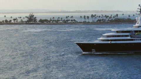 San Juan, Puerto Rico - February 1, 2014: Mega Yacht LUNA a luxury ship  of billionaire  Roman Abramovich in San Juan Harbor.