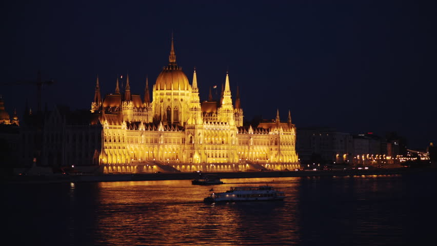 Budapest parliament from across the water at night | Shutterstock HD Video #5652710