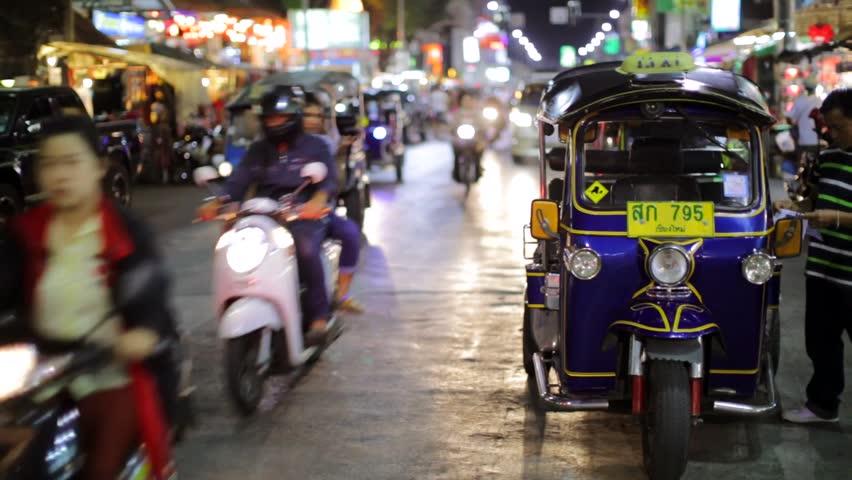 CHIANG MAI, THAILAND - CIRCA FEB 2014: Night traffic at night market district.