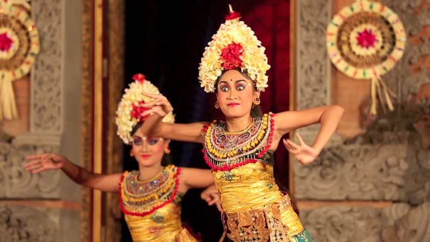 UBUD, BALI, INDONESIA  FEB 13: Balinese Dancers In Traditional Costume Performing On Stage In
