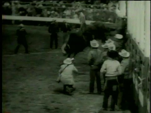 Bull rider performs and falls during his performance at Santa Rosa Roundup PRCA Rodeo in Vernon, TX circa 1958 - MGM PICTURES, UNIVERSAL-INTERNATIONAL NEWSREEL, USA, filmed in 1958