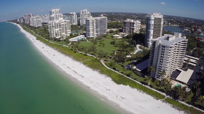 Naples Beach USA aerial video footage