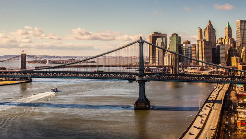 Manhattan Bridge And Brooklyn Bridge Stockvideos Filmmaterial 100