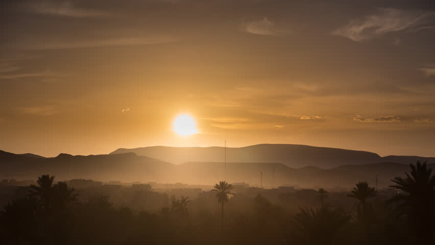 Time-lapse of sunset over the Ouarzazate