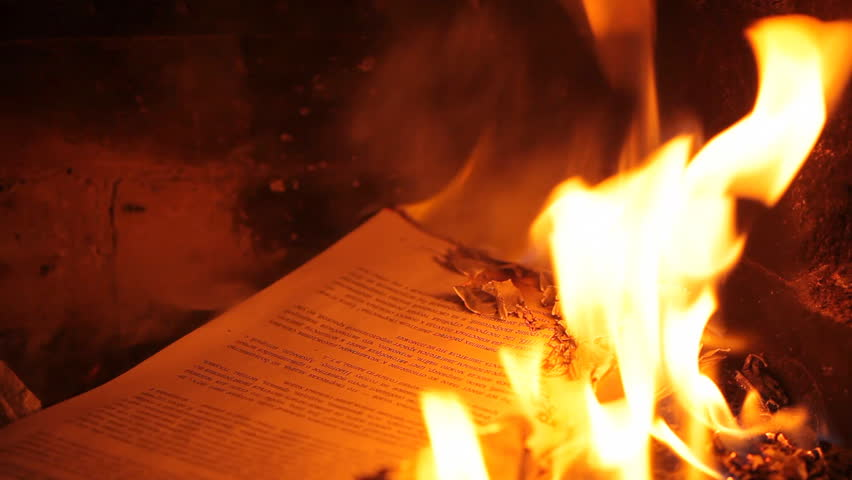 Burning page in the fireplace. HD 1080p
