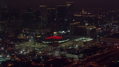 Houston Aerial Skyline. A beautiful view of Houston's skyline, framed by the towering buildings and busy highway.