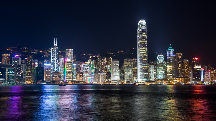 Time lapse of Skyline of Hong Kong over Pearl River.