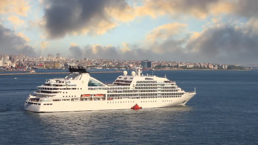 ISTANBUL - JUNE 6, 2011: Luxury cruise ship Seabourn Odyssey cruising into open sea. She is first new ship for Seabourn Cruise Line in over a decade. About 90% of ship's suites have private verandas