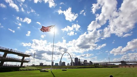 HDR View Of St. Louis Skyline and Cityscape