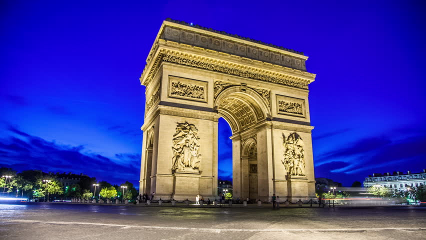 PARIS - CIRCA OCTOBER: Arc de Triomphe from day to night in October, 2012 in Paris. Arc de Triomphe is one of the most famous monuments in Paris, in the centre of the Place Charles de Gaulle. | Shutterstock HD Video #5826080
